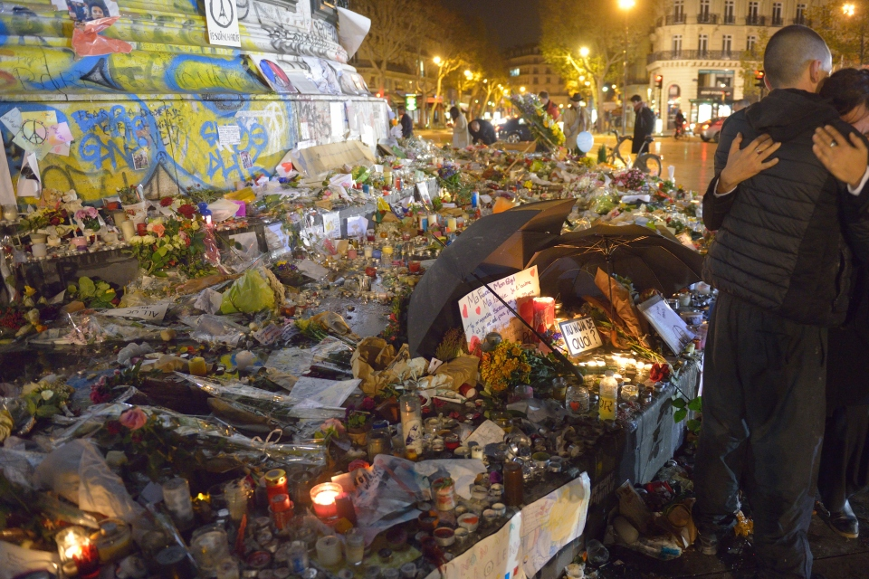 Commemoration against  terrorist attacks (on November 13th, 2015)  in Paris.